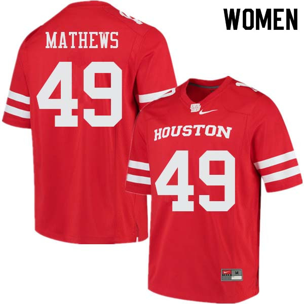 Women #49 Derrick Mathews Houston Cougars College Football Jerseys Sale-Red